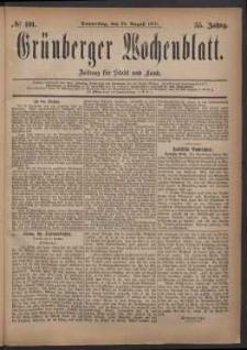 Grünberger Wochenblatt: Zeitung für Stadt und Land, No. 101. (28. August 1879)