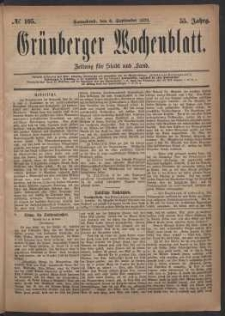 Grünberger Wochenblatt: Zeitung für Stadt und Land, No. 105. (6. September 1879)