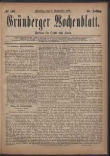 Grünberger Wochenblatt: Zeitung für Stadt und Land, No. 106. (9. September 1879)