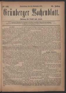 Grünberger Wochenblatt: Zeitung für Stadt und Land, No. 113. (25. September 1879)