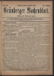 Grünberger Wochenblatt: Zeitung für Stadt und Land, No. 114. (27. September 1879)