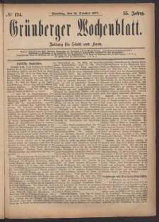 Grünberger Wochenblatt: Zeitung für Stadt und Land, No. 124. (21. October 1879)