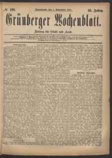 Grünberger Wochenblatt: Zeitung für Stadt und Land, No. 129. (1. November 1879)