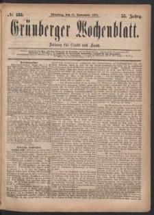 Grünberger Wochenblatt: Zeitung für Stadt und Land, No. 133. (11. November 1879)