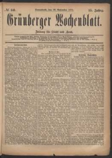 Grünberger Wochenblatt: Zeitung für Stadt und Land, No. 141. (29. November 1879)