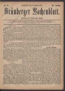 Grünberger Wochenblatt: Zeitung für Stadt und Land, No. 11. (24. Januar 1880)