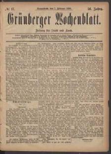 Grünberger Wochenblatt: Zeitung für Stadt und Land, No. 17. (7. Februar 1880)