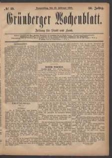 Grünberger Wochenblatt: Zeitung für Stadt und Land, No. 19. (12. Februar 1880)
