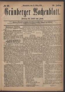 Grünberger Wochenblatt: Zeitung für Stadt und Land, No. 38. (27. März 1880)