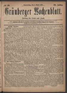 Grünberger Wochenblatt: Zeitung für Stadt und Land, No. 39. (1. April 1880)