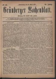 Grünberger Wochenblatt: Zeitung für Stadt und Land, No. 45. (15. April 1880)