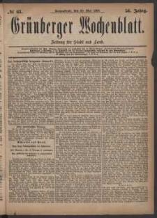 Grünberger Wochenblatt: Zeitung für Stadt und Land, No. 63. (29. Mai 1880)