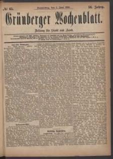 Grünberger Wochenblatt: Zeitung für Stadt und Land, No. 65. (3. Juni 1880)