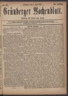 Grünberger Wochenblatt: Zeitung für Stadt und Land, No. 67. (8. Juni 1880)