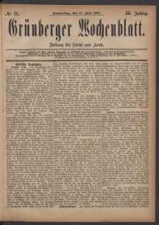 Grünberger Wochenblatt: Zeitung für Stadt und Land, No. 71. (17. Juni 1880)