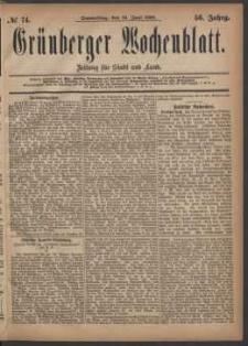 Grünberger Wochenblatt: Zeitung für Stadt und Land, No. 74. (24. Juni 1880)