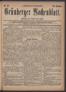 Grünberger Wochenblatt: Zeitung für Stadt und Land, No. 91. (3. August 1880)