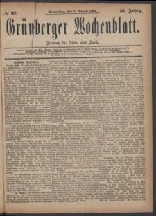 Grünberger Wochenblatt: Zeitung für Stadt und Land, No. 92. (5. August 1880)