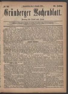 Grünberger Wochenblatt: Zeitung für Stadt und Land, No. 93. (7. August 1880)