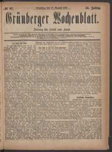 Grünberger Wochenblatt: Zeitung für Stadt und Land, No. 97. (17. August 1880)