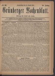 Grünberger Wochenblatt: Zeitung für Stadt und Land, No. 98. (19. August 1880)