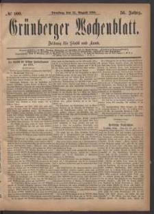 Grünberger Wochenblatt: Zeitung für Stadt und Land, No. 100. (24. August 1880)