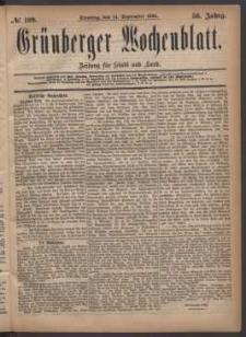 Grünberger Wochenblatt: Zeitung für Stadt und Land, No. 109. (14. September 1880)