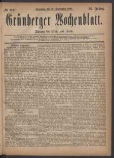 Grünberger Wochenblatt: Zeitung für Stadt und Land, No. 112. (21. September 1880)