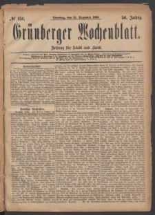 Grünberger Wochenblatt: Zeitung für Stadt und Land, No. 151. (21. Dezember 1880)