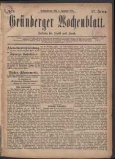 Grünberger Wochenblatt: Zeitung für Stadt und Land, No. 1. (1. Januar 1881)
