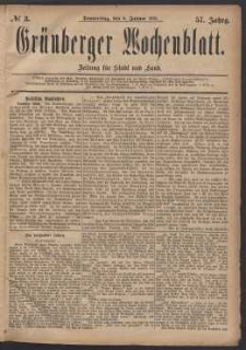 Grünberger Wochenblatt: Zeitung für Stadt und Land, No. 3. (6. Januar 1881)
