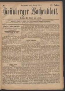 Grünberger Wochenblatt: Zeitung für Stadt und Land, No. 4. (8. Januar 1881)