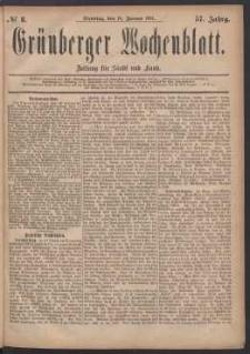 Grünberger Wochenblatt: Zeitung für Stadt und Land, No. 8. (18. Januar 1881)
