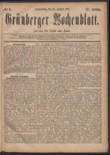 Grünberger Wochenblatt: Zeitung für Stadt und Land, No. 9. (20. Januar 1881)
