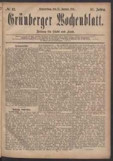 Grünberger Wochenblatt: Zeitung für Stadt und Land, No. 12. (27. Januar 1881)