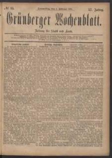 Grünberger Wochenblatt: Zeitung für Stadt und Land, No. 15. (3. Februar 1881)