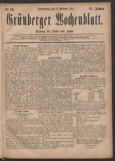Grünberger Wochenblatt: Zeitung für Stadt und Land, No. 18. (10. Februar 1881)