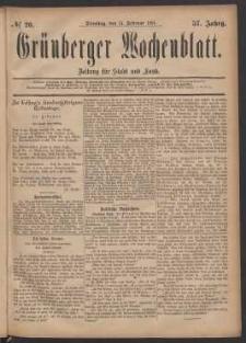 Grünberger Wochenblatt: Zeitung für Stadt und Land, No. 20. (15. Februar 1881)
