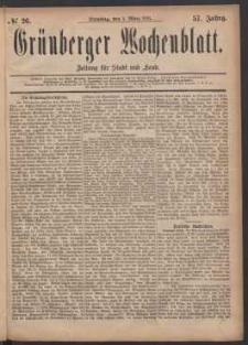 Grünberger Wochenblatt: Zeitung für Stadt und Land, No. 26. (1. März 1881)