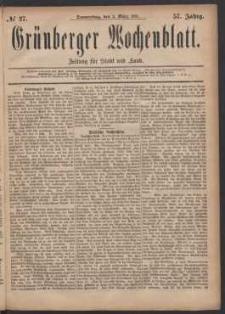 Grünberger Wochenblatt: Zeitung für Stadt und Land, No. 27. (3. März 1881)