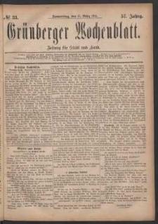 Grünberger Wochenblatt: Zeitung für Stadt und Land, No. 33. (17. März 1881)
