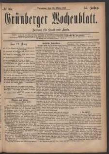 Grünberger Wochenblatt: Zeitung für Stadt und Land, No. 35. (22. März 1881)
