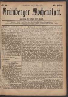 Grünberger Wochenblatt: Zeitung für Stadt und Land, No. 37. (26. März 1881)