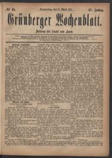 Grünberger Wochenblatt: Zeitung für Stadt und Land, No. 45. (14. April 1881)