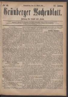 Grünberger Wochenblatt: Zeitung für Stadt und Land, No. 48. (23. April 1881)