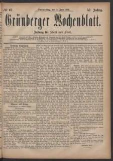 Grünberger Wochenblatt: Zeitung für Stadt und Land, No. 67. (9. Juni 1881)
