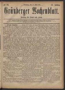 Grünberger Wochenblatt: Zeitung für Stadt und Land, No. 72. (21. Juni 1881)