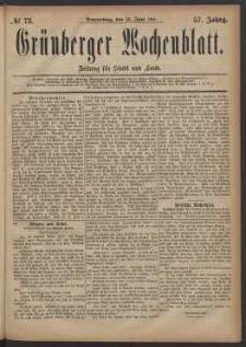 Grünberger Wochenblatt: Zeitung für Stadt und Land, No. 73. (23. Juni 1881)