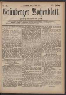 Grünberger Wochenblatt: Zeitung für Stadt und Land, No. 78. (5. Juli 1881)