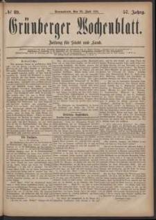 Grünberger Wochenblatt: Zeitung für Stadt und Land, No. 89. (30. Juli 1881)